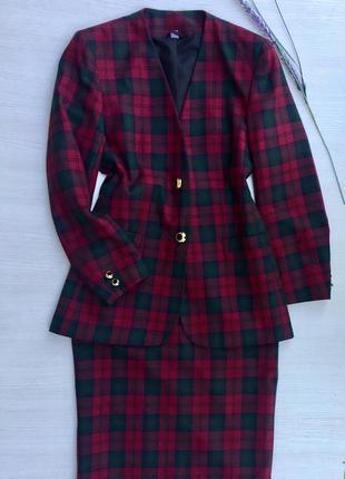 Стильный костюм в клетку пиджак+юбка миди