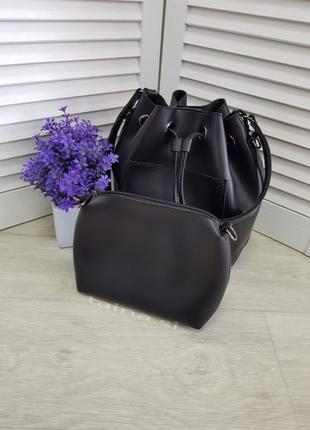 6 цветов! сумка 2в1 мешок повседневная черная шопер с косметичкой кросс боди4 фото