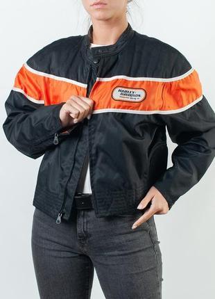 Байкерская куртка harley-davidson women's light weight nylon jacket orange/black