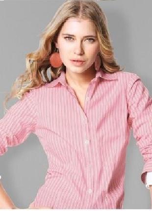 Сильная женская белая в розовую полоску рубашка tchibo  германия