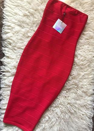 Мега скидки!!!  бандажное платье красное миди