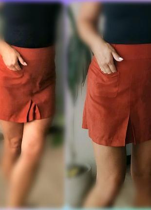 С-м мини юбка трапеция под замш