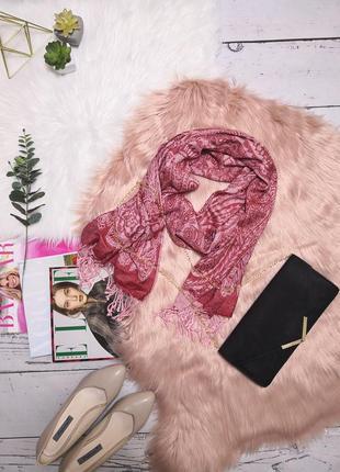 Шикарный бордовый шарф шаль в розовый орнамент