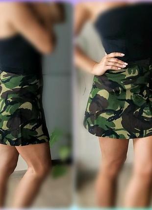 С-м мини юбка трапеция хаки,милитари