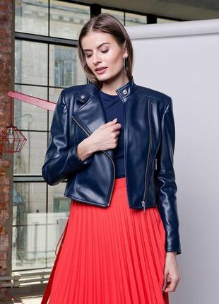 Кожаная куртка косуха темно-синего цвета