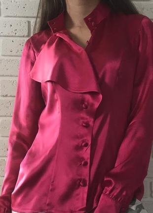 Яркая атласная рубашка/ блузка