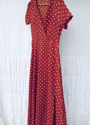 Круте плаття в горошок на запах3 фото