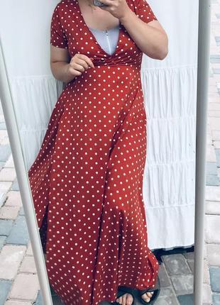 Круте плаття в горошок на запах10 фото