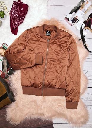 Стильный стеганый бомбер куртка кирпичного цвета