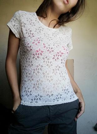 Блуза футболка  ажурная