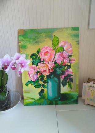 Красивые розы акрилом