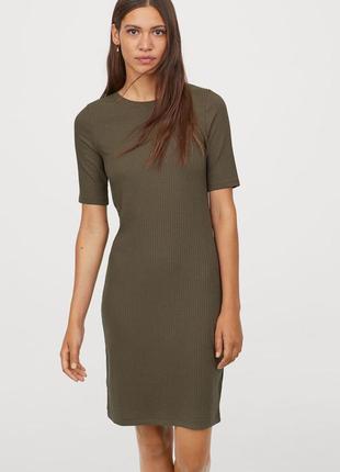 Хаки h&m трикотажное платье, s