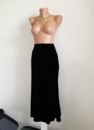 🌹шикарная бархатная юбка миди🌹черная юбкa principles petite