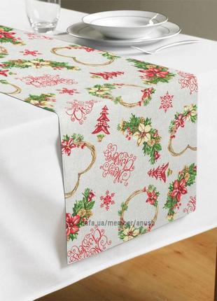 Новогодняя дорожка на стол christmas hearts 40х160 см