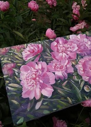 Картина маслом цветы розовые пионы