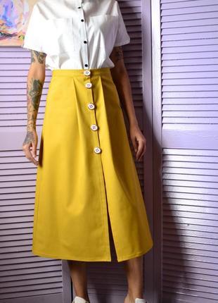 Классная юбка миди в горчичном цвете