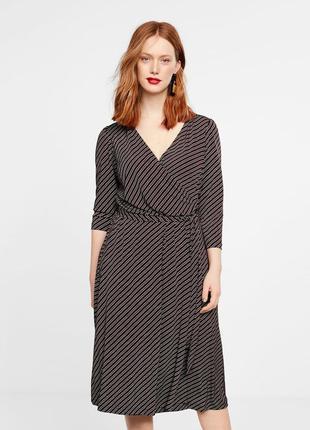 Стильное платье на запах,  платье миди с принтом в полоску