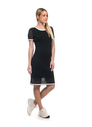 Трикотажное платье миди, вязаное короткий рукав (шерсть)