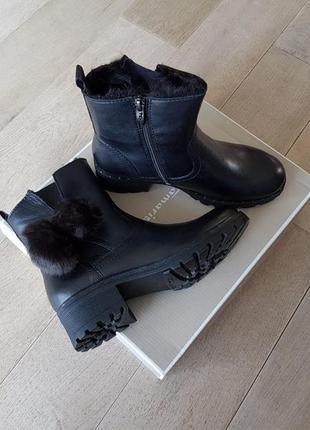 Зимние ботинки tamaris, кожа, р. 37