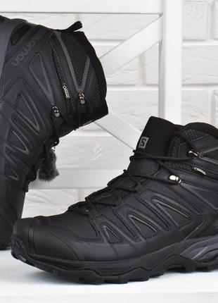 Ботинки мужские зимние кожаные salomon x ultra 3 mid gore-tex натуральный мех