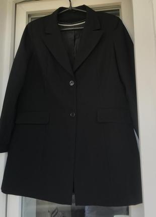 Чёрный длинный пиджак классический 1+1=3 🎁