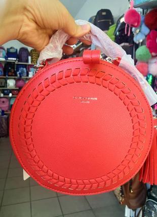 Фирменная красная круглая сумочка кросбоди клатч david jones
