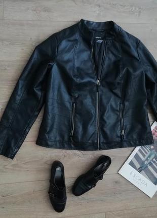 Черная кожаная куртка эко кожа