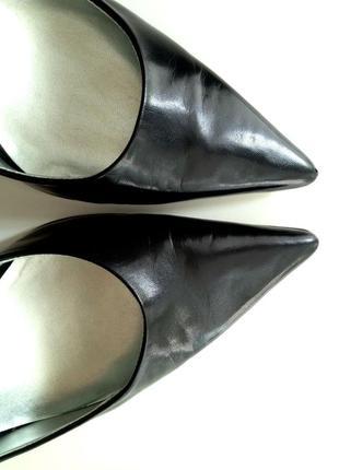 Nine west кожаные туфли-лодочки на каблуке черные натуральная кожа размер 39.55