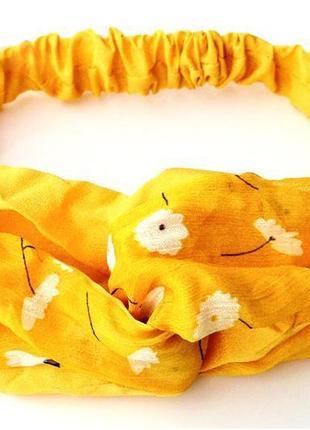 Воздушная желтая повязка-чалма в ромашках sale