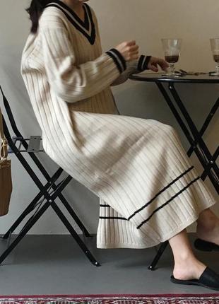 Новое вязаное платье миди трикотажное в составе шерсть