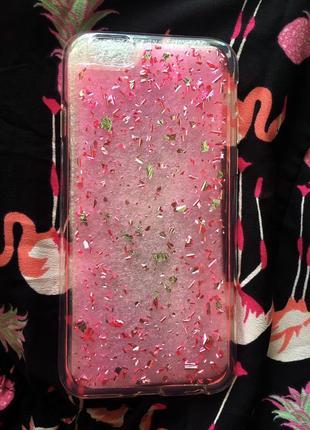 Новый чехол айфон 6/ 6s блестящий розовый переливающийся iphone
