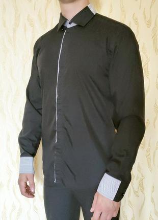 Рубашка черная мужская dergi made in turkey размер l 48 без торга
