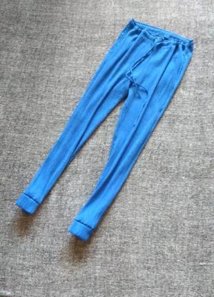 Летние узкие синие штаны жатка#высокая посадка #размер m-l,наш 46-48