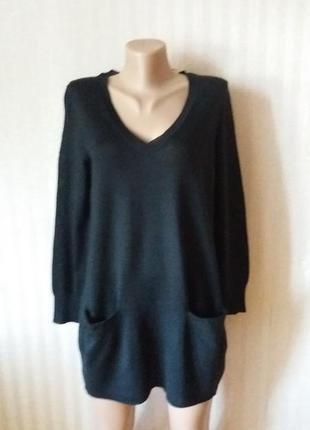 Черный свитер-туника платье кокон h@m