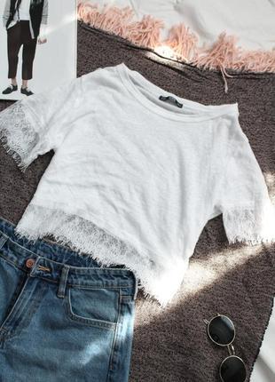 Укороченная футболка белый топ с кружевом 38 м размер зара zara