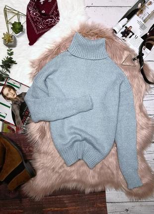 Шикарный свитер-гольф голубого цвета