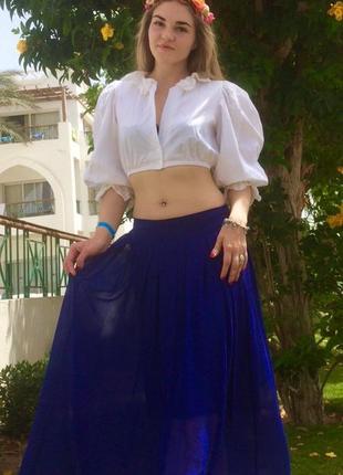 Летний комплект. васильковая макси юбка + короткая блуза с рукавами-фонариками