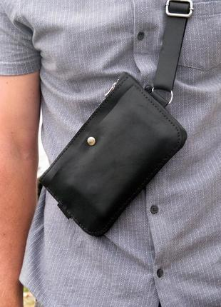 Кожаная сумка,унисекс,ручная работа