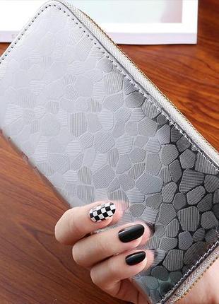 Новый бомбезный длинный серебристый кошелек бумажник хамелеон серебро