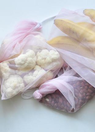 Набір еко мішечків сумка пакет еко мішечок з сітки эко мешочек фруктовка с сетки