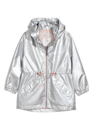 Блестящая радужная куртка дождевик metallic, ветровка, h&m, 92- 98, бирка