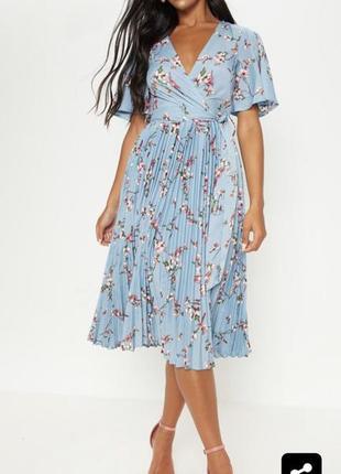 Asos платье с плиссированной юбкой платье миди в цветочный принт