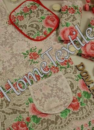 Льняной набор для кухни. полотенца, прихватка, рукавичка, фартук. роза ситец