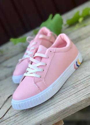 Розовые кеды/ шнуровка/ в наличии