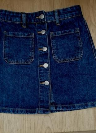 Юбка джинсовая bershka, на пуговицах
