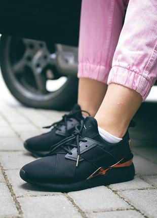 Шикарные женские кроссовки puma muse metal чёрные