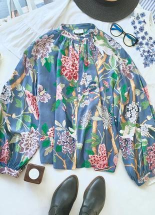 Премиум рубашка цветочный принт с птицами швеция-англия