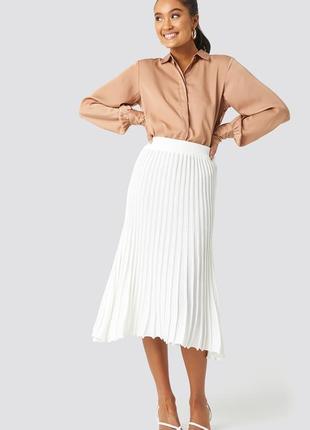 Белая юбка миди плиссе new look