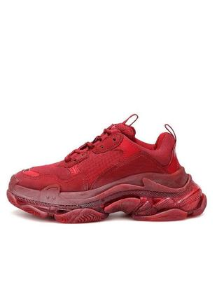 Женские кроссовки balenciaga triple s clear sole trainer red