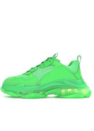 Женские кроссовки balenciaga triple s neon green